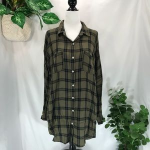 Mossimo Supply Co Green Plaid Tunic Top